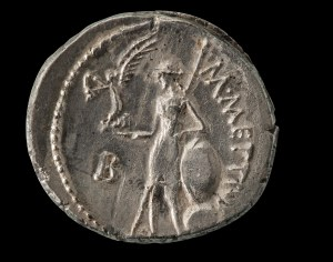 Denario in argento, zecca di Roma, 44 a.C.