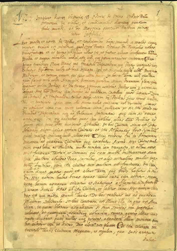 Copia Relatio de mirabilibus orientalium tatarorum di Odorico da Pordenone 1