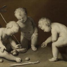 ©Bambini che giocano, XVII secoloPitturaa grisaille, tela,H 70 cm, L 98 cmVienna, Kunsthistorisches Museum, Gemäldegaleriie