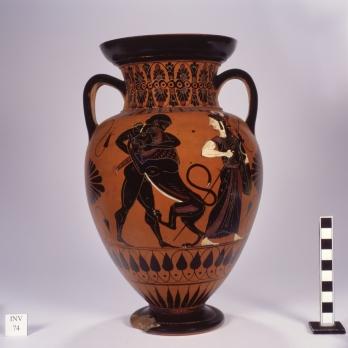 Musei Capitolini, Collezione Castellani, inv. Ca 74. Anfora attica a figure nere raffigurante Ercole in lotta con il leone nemeo alla presenza di Atena. Attribuita al Pittore dei Conservatori, 530-520 a. C. ca.